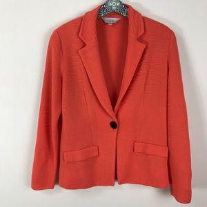 Exclusively Misook Orange Blazer Black Button M